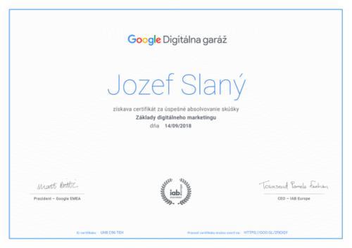 certifikát google digitálna garáž