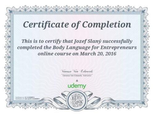certifikát reč tela - neverbálna komunikácia