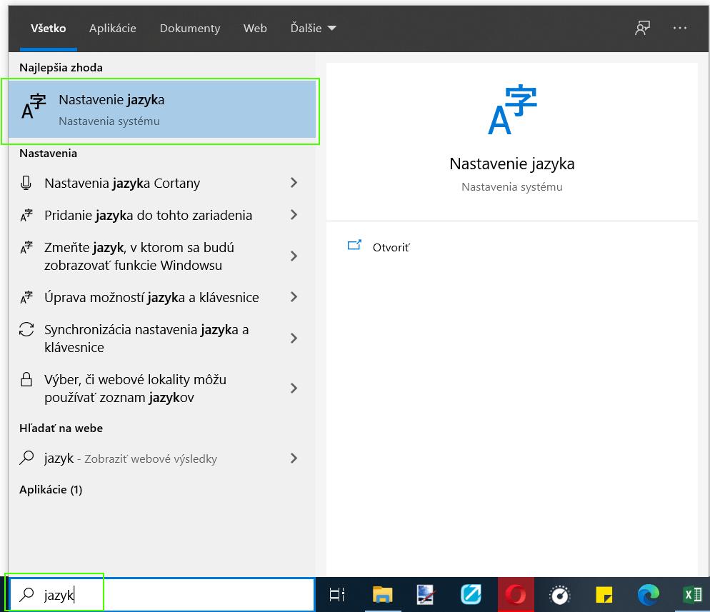 vyhľadávanie jazyka windows