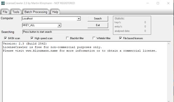 License Crawler rozhranie programu
